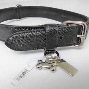NEW COACH BLACK SILVER BONE LEATHER DOG COLLAR